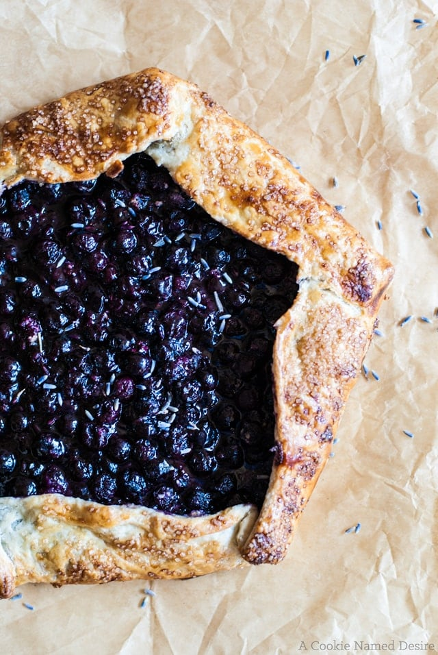 A rustic blueberry lavender galette to enjoy on a warm spring evening