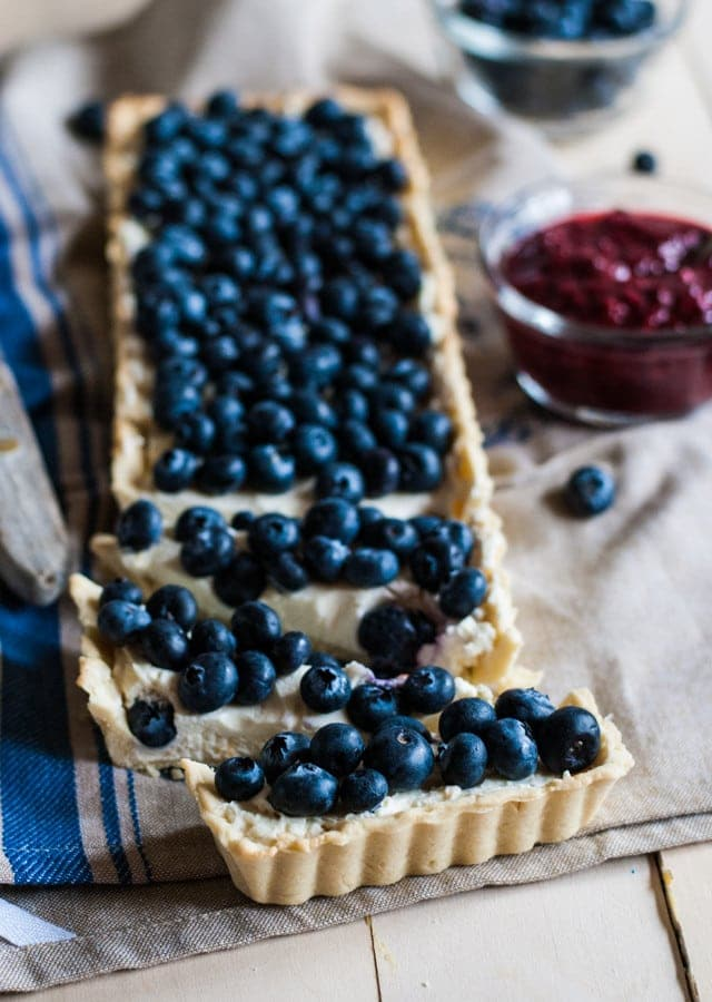 Blueberry Mascarpone Tart with Raspberry Compote