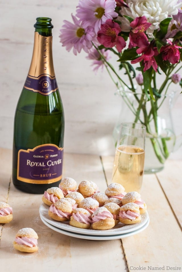 These mini profiteroles with strawberry cream are the perfect accompaniment to Gloria Ferrer sparkling wine