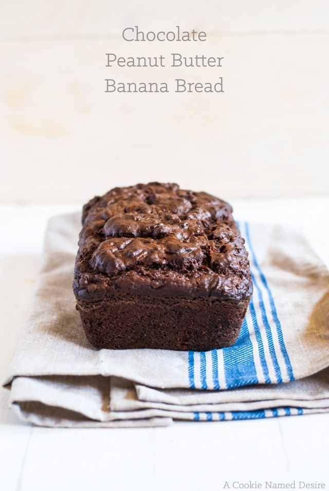 Warm chocolate peanut butter banana bread