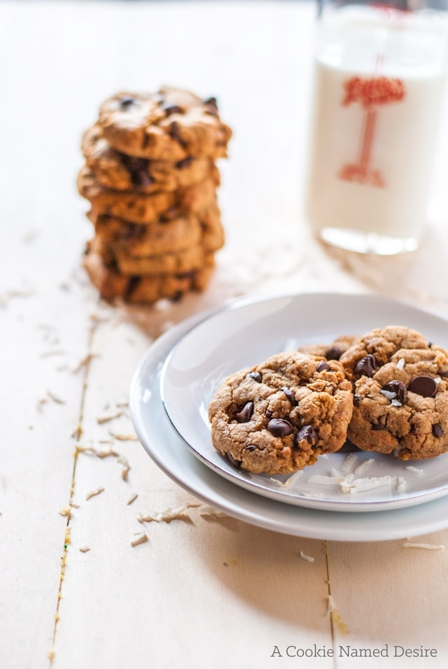 A guilt-free version of chocolate chip cookies with a coconuty twist.