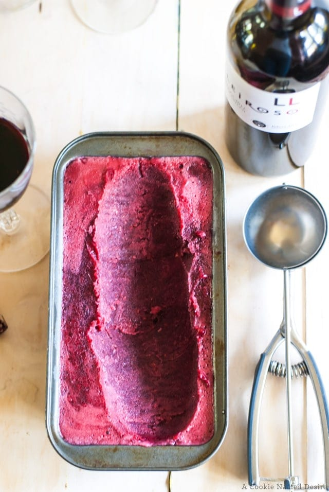 Simple pomegranate and blackberry sorbet, perfect for hot summer evenings