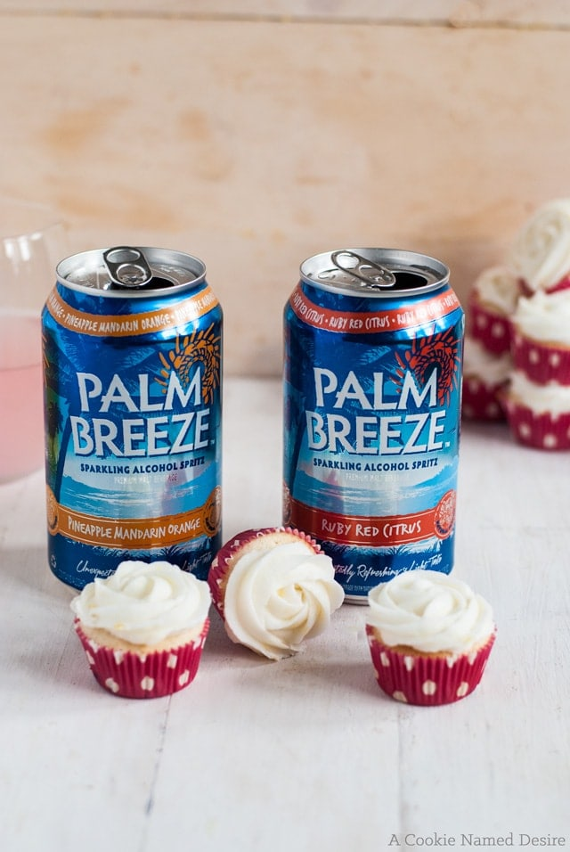 Mini berry citrus cupcakes are the perfect treat to enjoy with Palm Breeze