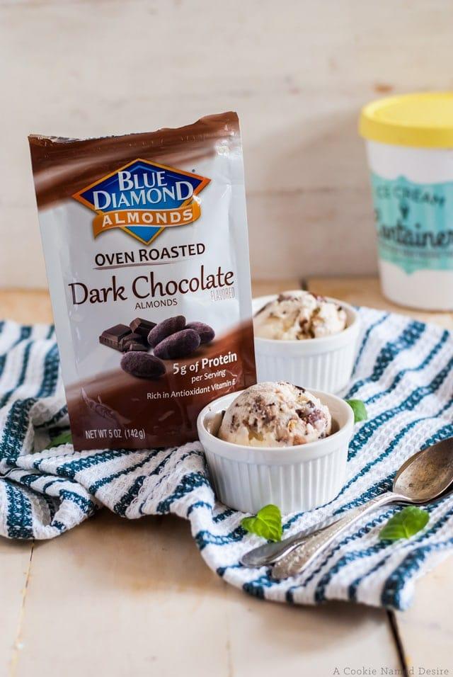 dark chocolate almonds help make this mint chocolate chip gelato unforgettable