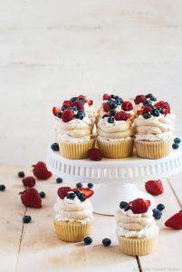 Pavlova cupcakes with honey-sweetened whipped cream