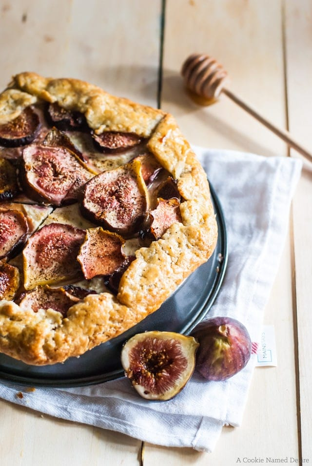 honey and fig galette with cream cheese and mascarpone