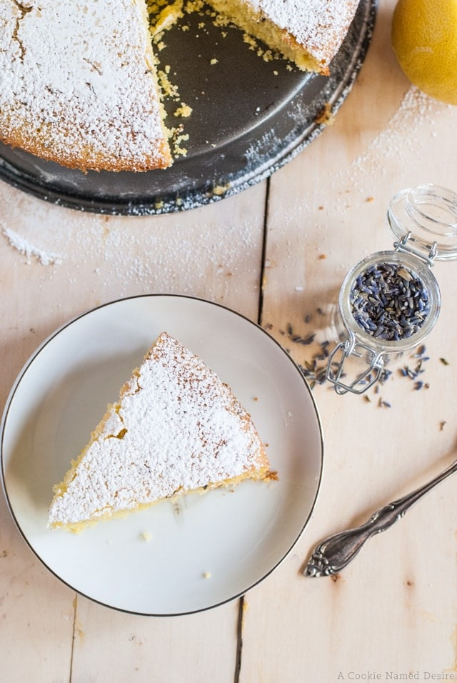 lemon and lavender semolina cake with extra virgin olive oil