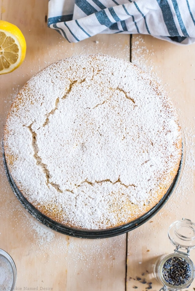 lemon lavender semolina cake with olive oil and almond