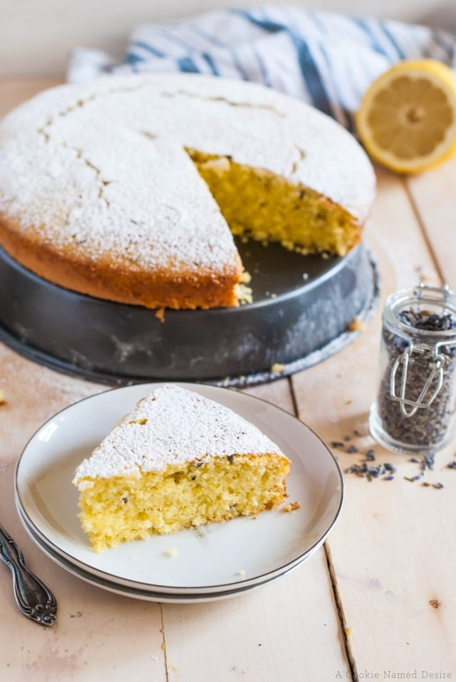 lemon olive oil semolina cake with lavender