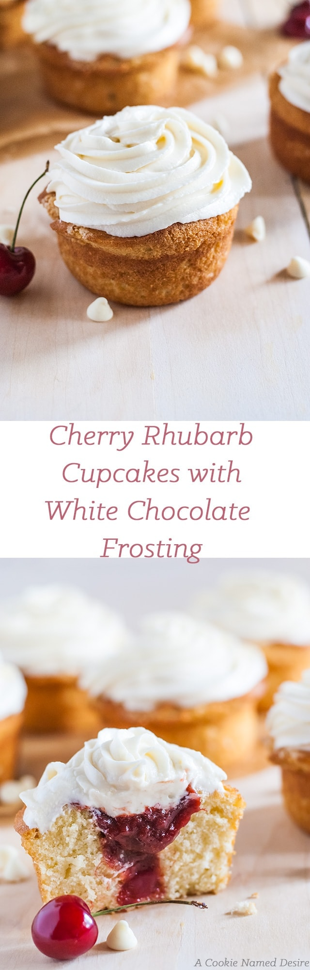 cherry rhubarb cupcakes with white chocolate frosting