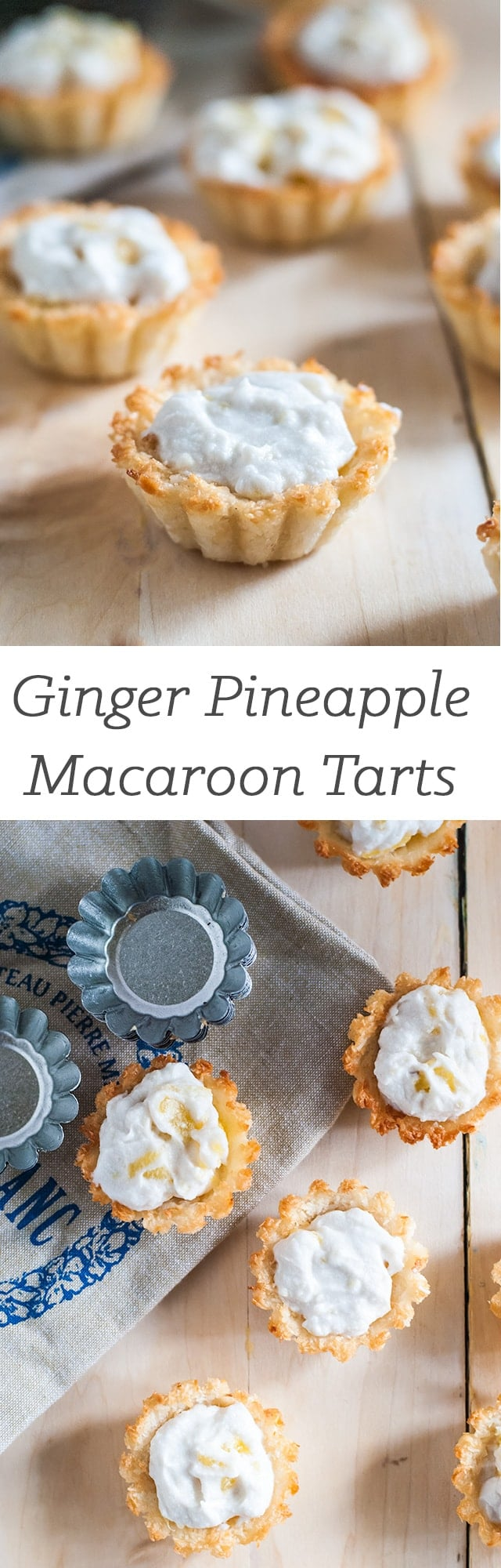 ginger pineapple macaroon tarts