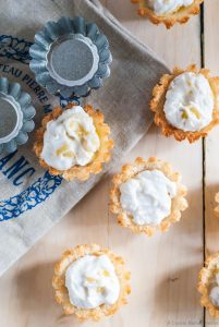 ginger coconut whipped cream macaroon tarts with pineapple