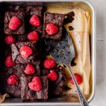 Fudgy and chewy raspberry browbies studded with raspberries in every bite!