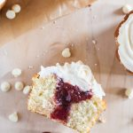 jumbo cherry rhubarb cupcakes with white chocolate frosting