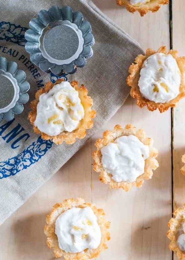 Macaroon Tarts with Ginger Coconut Whipped Cream and Pineapple