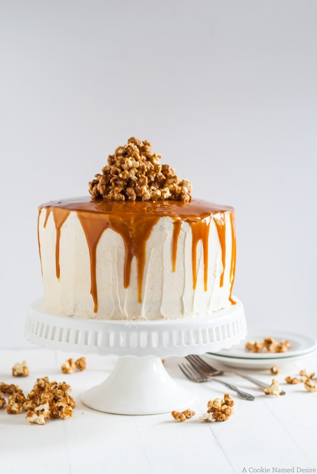 vanilla bean cake with bourbon peaches and spicy bourbon caramel. What a delicious way to celebrate that special day