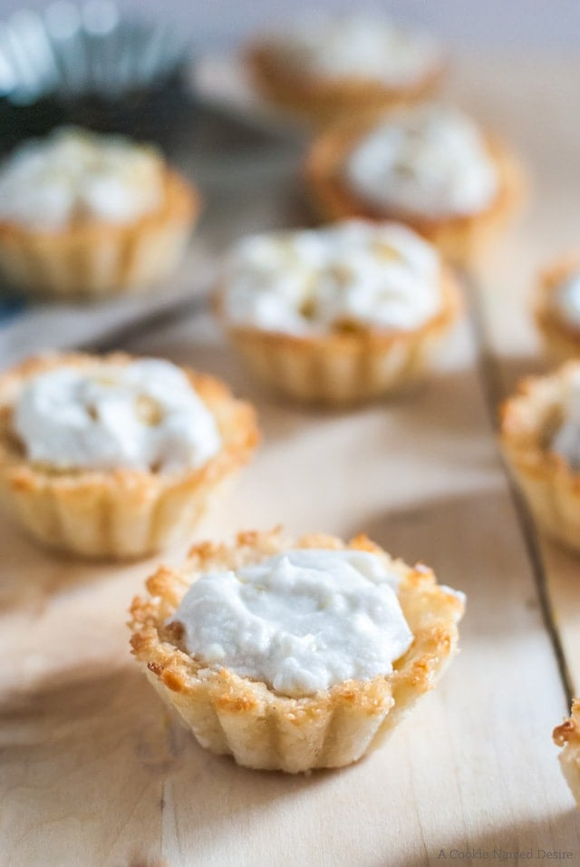Macaroon tarts with ginger coconut cream and pineapple