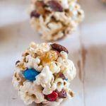 Enjoy movie night with these delicious trail mix easy popcorn balls made with no corn syrup