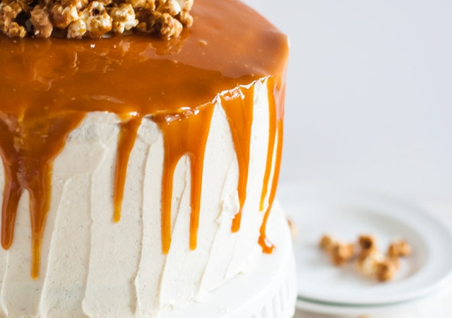 spicy bourbon caramel and vanilla bean cake with bourbon peach compote
