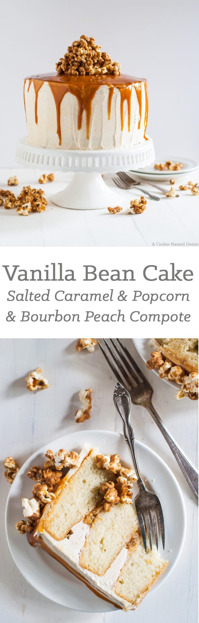 Vanilla bean birthday cake recipe with bourbon soaked peach compote and spicy caramelized onion. What a way to celebrate!