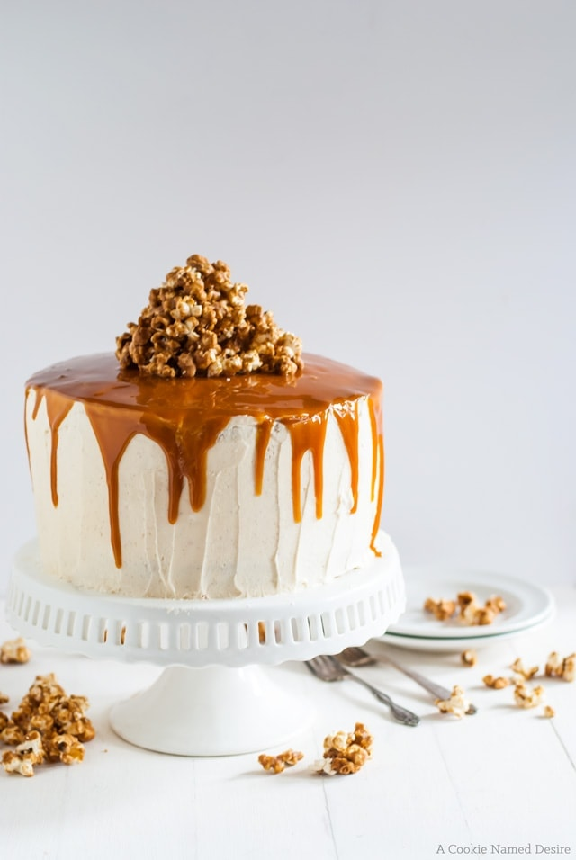 vanilla bean cake with bourbon peaches and spicy bourbon caramel. Seriously my favorite cake ever