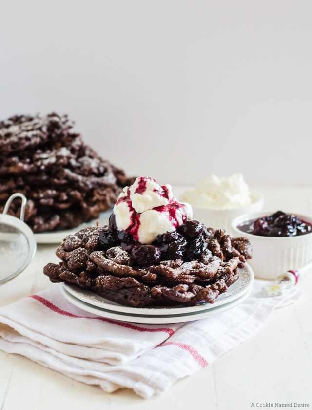 Chocolate Funnel Cake with Cherry Compote and Whipped Cream (Black Forest Funnel Cake)