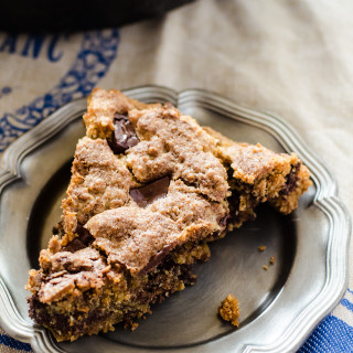 Chocolate almond skillet cookie. A crispy on the outside, chewy on the inside cookie with a layer of melted chocolate in the middle. The ultimate chocolate chip cookie
