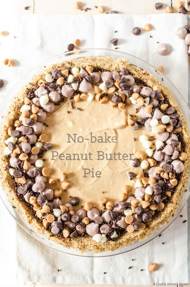 No bake peanut butter pie with pretzel crust. This delicious pie will be a new favorite dessert at my house!