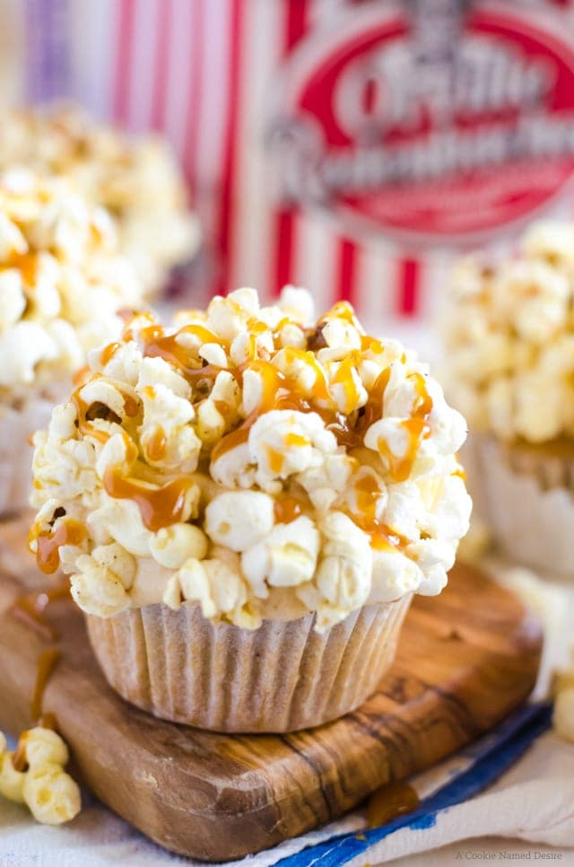 Brown Butter Salted Caramel Popcorn Cupcakes