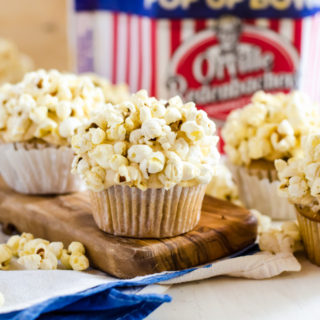 Brown Butter Salted Caramel Cupcakes with Orville Movie Theatre Popcorn