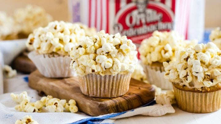 Brown Butter Cupcakes with Caramel Frosting and Popcorn