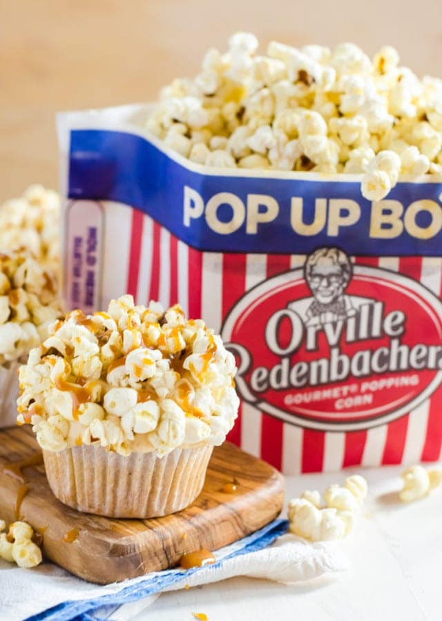 Brown Butter Cupcakes with Salted Caramel Frosting and Popcorn