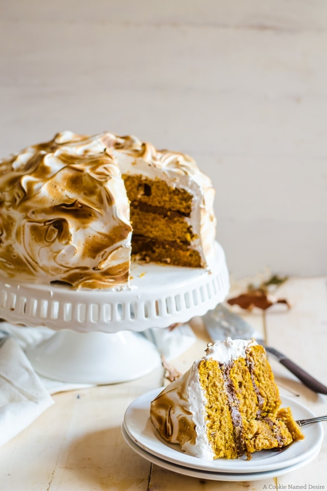 The most moist pumpkin cake with spiced chocolate buttercream and spiced meringue