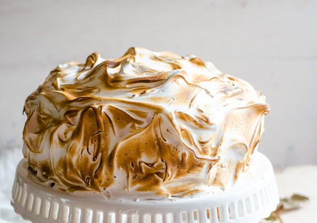 The most incredible pumpkin cake with ginger chocolate and toasted cinnamon meringue