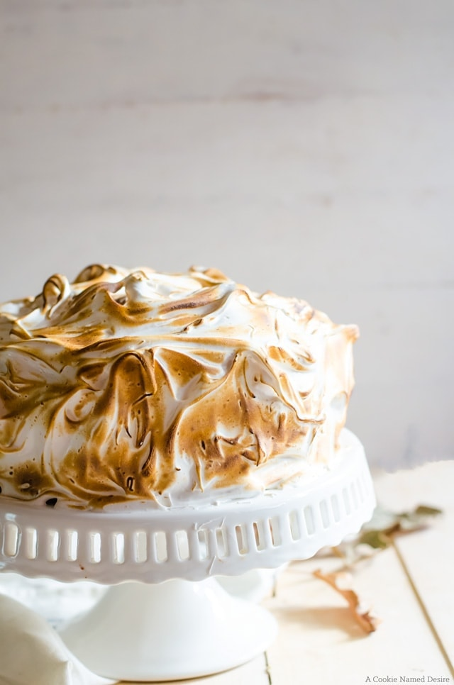 Warm up this fall with pumpkin cake with ginger chocolate buttercream and toasted cinnamon meringue