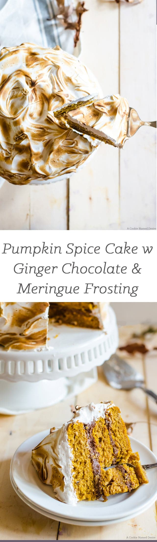 A deliciously flavorful pumpkin spice cake with ginger chocolate buttercream and pillows of cinnamon meringue. This cake is the perfect autumn dessert