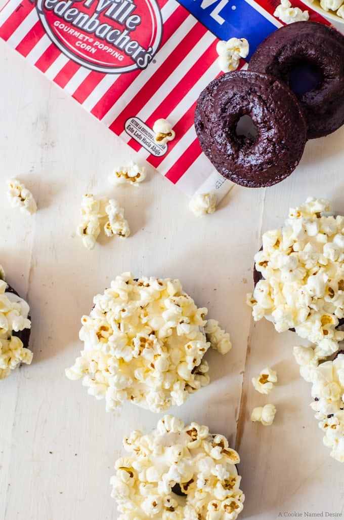 red velvet doughnuts with gooey marshmallow and popcorn