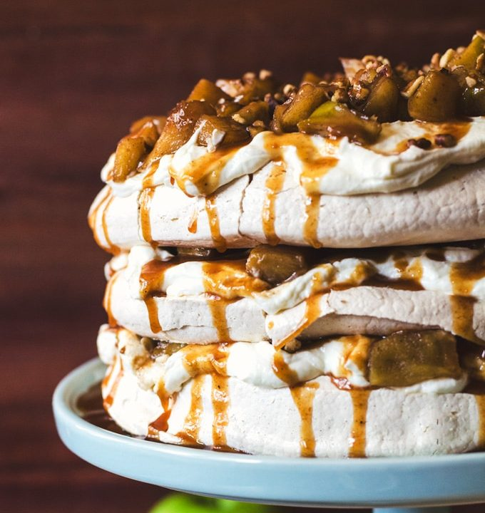 Salted caramel apple pie pavlova with goats cheese