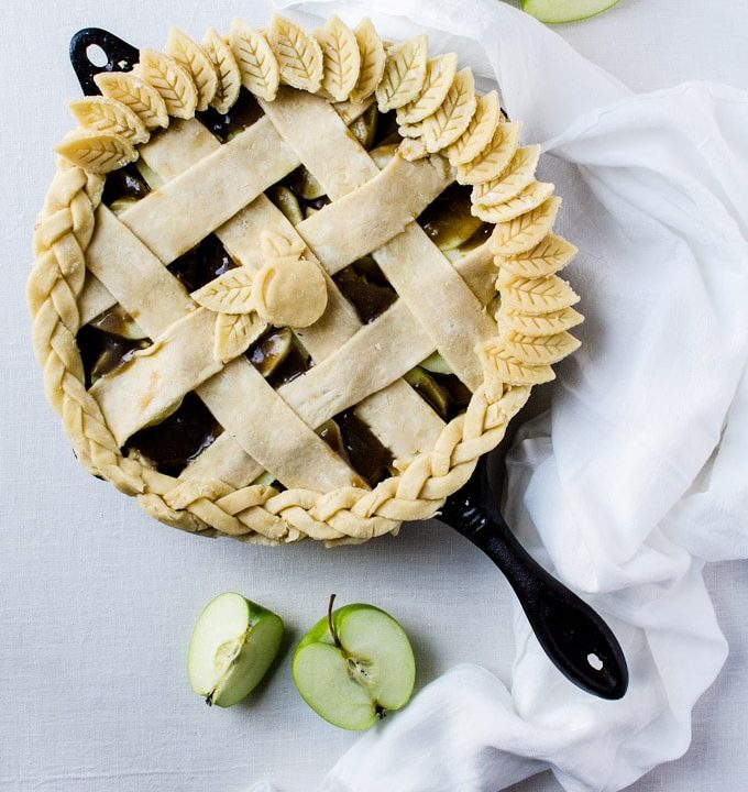 A caramel skillet apple pie that will become your new go-to pie each and every year!