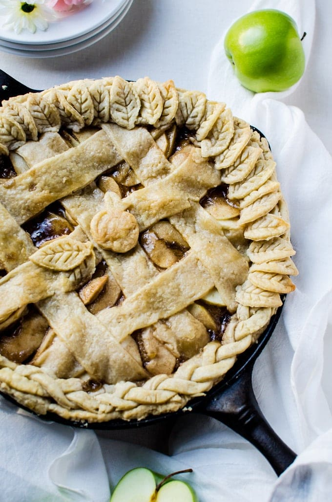 A tasty caramel skillet apple pie recipe with a flaky, buttery crust