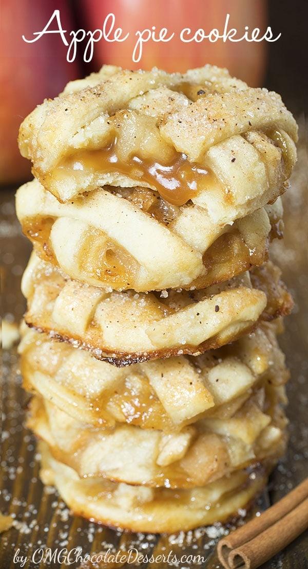Gooey caramel apple pie cookies