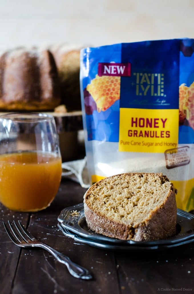 A honey apple cider doughnut cake made with honey granules from Tate & Lyle. The perfect flavor combination to try this fall.