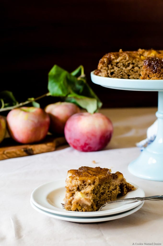 An incredible caramel apple upside down cake that will become your favorite dessert recipe to make this fall - or any time of year!