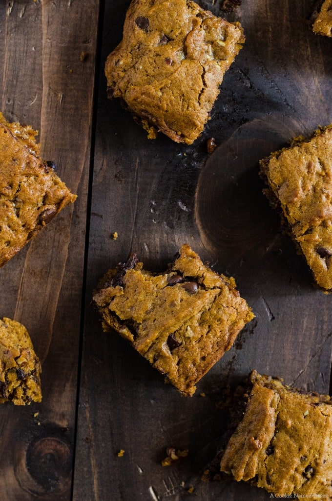 The epitome of gooey delicious chocolate and pockets of caramel wrapped in a moist pumpkin blondie.