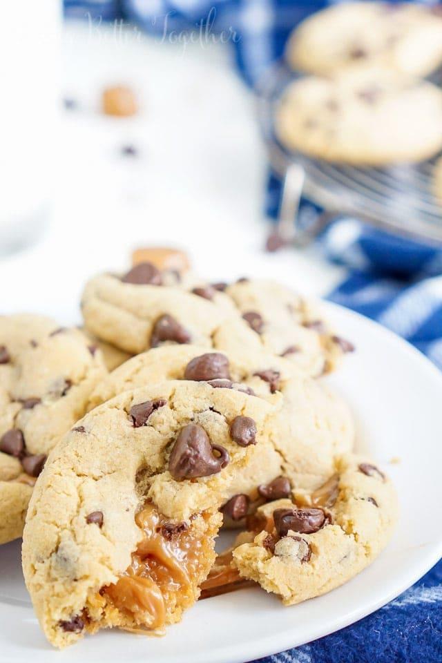 peanut butter caramel stuffed cookies