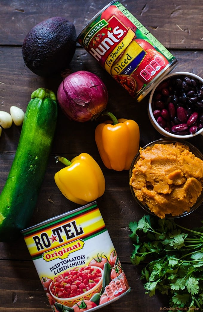 all the veggies for this amazing pumpkin chili