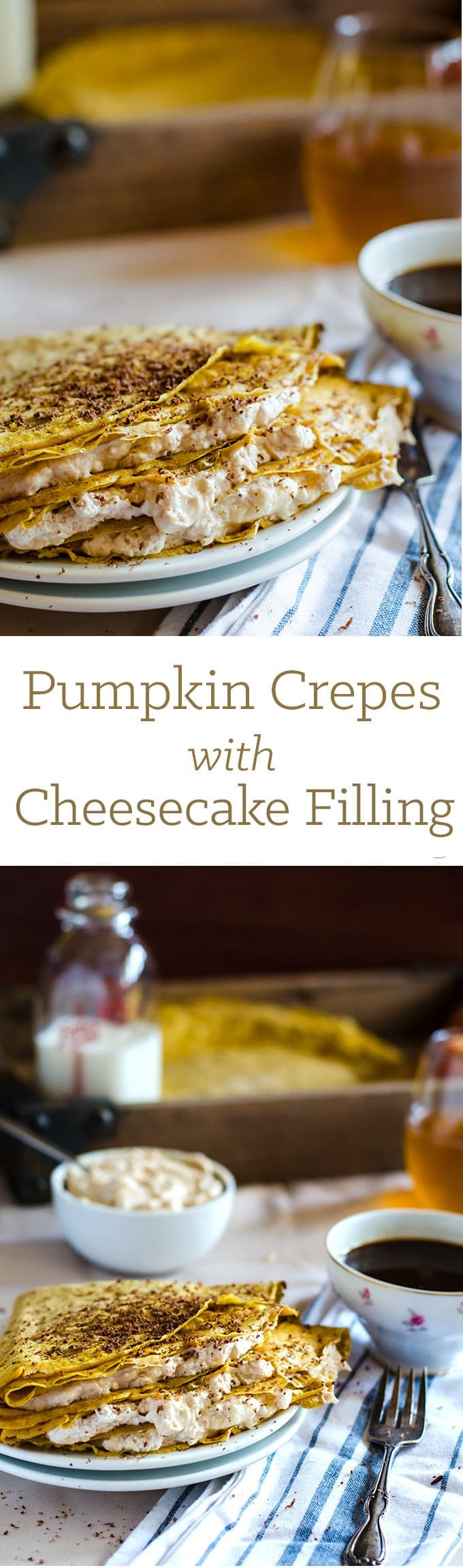These pumpkin crepes with cinnamon ginger cheesecake filling are everything. Definitely a must-make during the weekend.
