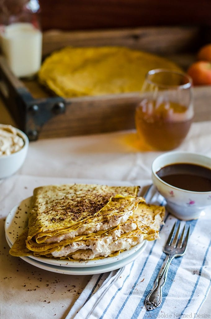 These pumpkin crepes look fancy, but are very simple to make for breakfast for dessert