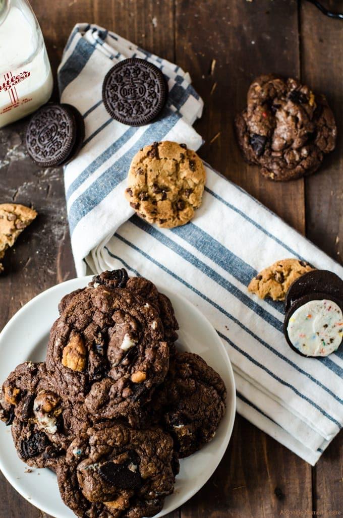 Slutty brownie cookies... fudgy chocolate brownie cookies with chocolate chip cookies and Oreos rolled in