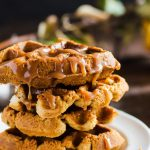 Apple bread waffles covered in salted caramel and maple syrup
